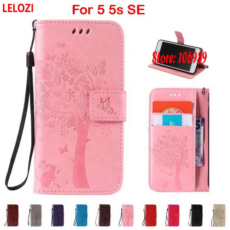 LELOZI Tree Star Flower Cat Butterfly PU Leather Wallet Case Cove etui For iPhone 5 5s SE Cute New Red Brown Best Vintage Art