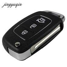 Jingyuqin удаленный ключевой Дело брелок 3 Кнопка флип складной ключ Shell для Mistra Hyundai Solaris IX35 IX45 серии 2 Verna santa Fe
