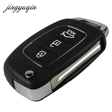 jingyuqin Remote Key Case Fob 3 Button Flip Folding Key Shell For Mistra Hyundai Solaris ix35 ix45 Series 2 Verna Santa Fe