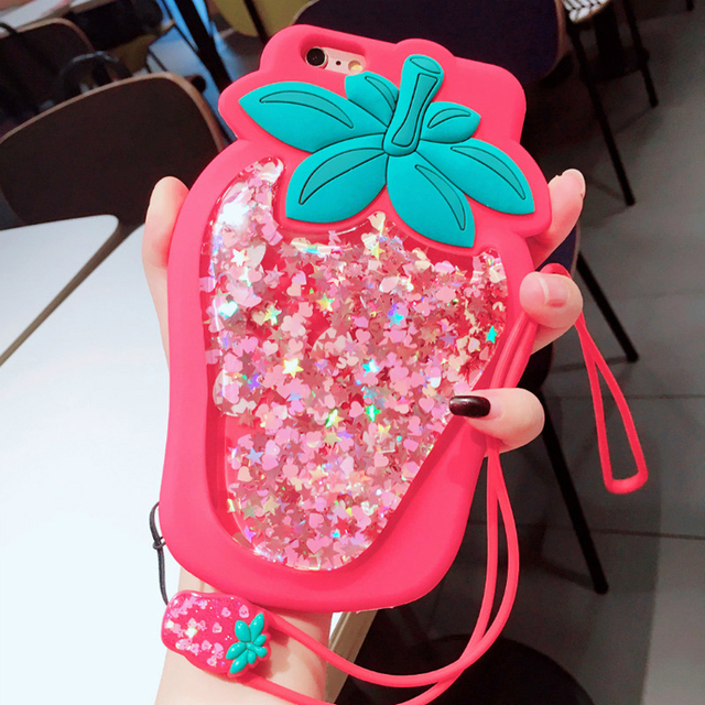 Kawaii Strawberry Glitter Phone Case for iPhone – Limited Edition