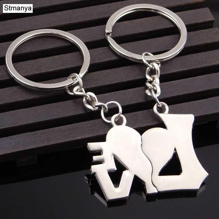 Новая мода ювелирные изделия Я подвеска в форме сердца цепочка для ключей любовник Романтический Креативный Новый chaviro пара брелок лучший подарок 17319