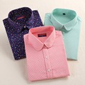 2016 Plus Size Polka Dot Algodão Mulheres Blusas Camisas Longas Mulheres manga Camisas de Algodão Gola Virada Para Baixo Camisa Ocasional Das Mulheres topos