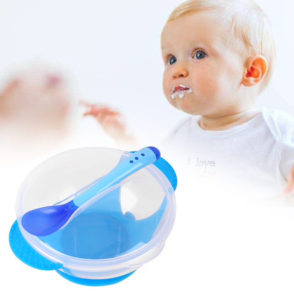 Uarter High quality Baby Training Sucker Bowl Infant Binaural Feeding Dish Toddler Training Utensil Tableware