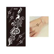 1pc Waterproof Temporary Tattoo Henna Flower Pendant Stencil For Sex Women Men Beauty Makeup Body Art Tattoo Sticker Design S235