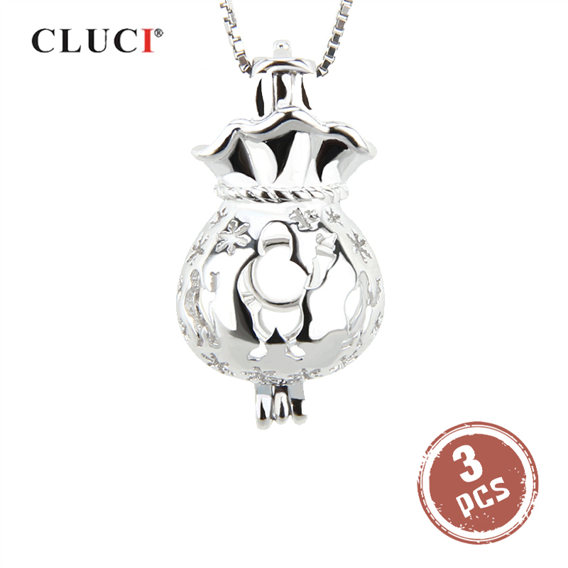 CLUCI 3pcs 925 Sterling Silver Claus Bag Cage Pendants Pendant Diy Jewelry Charms Christmas Gift Charms Pearl Pendant