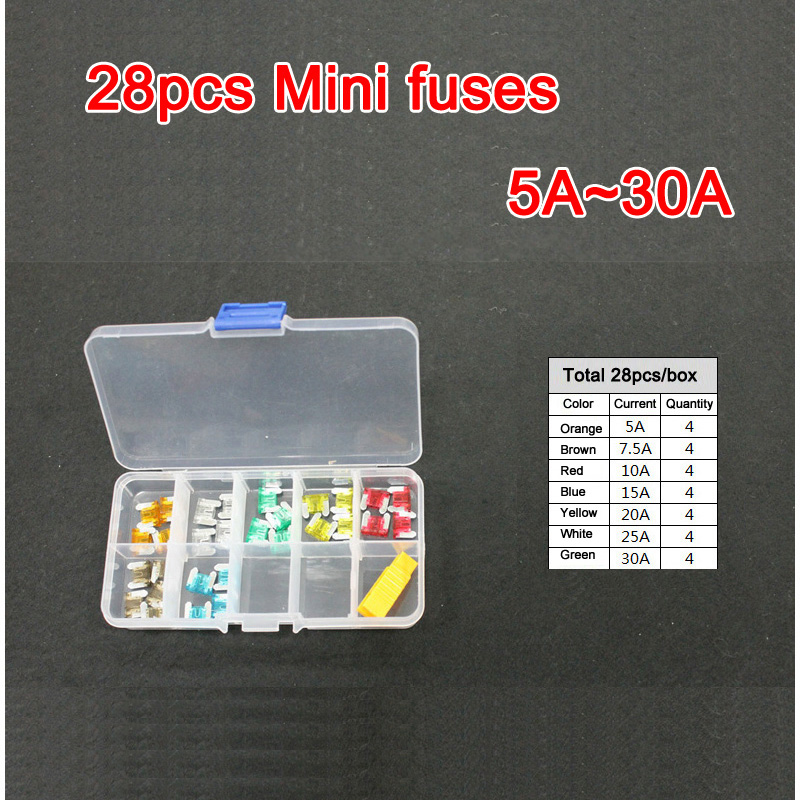 28pc Assorted Micro Mini Blade Fuse 5A 7.5A 10A 15A 20A 25A 30A Auto Car Truck Motorcycle FUSES Box Kit ATC ATO ATM 40a blade contact fuse link base holder nt00 500v 120ka 660v 50ka