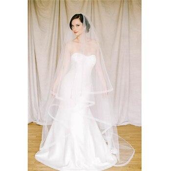 aeb84c368 ISHSY capilla blanco marfil tul de novia velos de boda doble capas con  peine Velo accesorios Velo de novia de gasa de Mariage