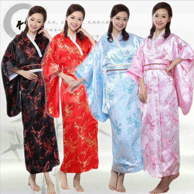 df8af53eb14 Famale Japanese Kimono Dress Plum Blossom Satin Yukata Adult Japanese  Traditional Costume Women Bathrobe Ancient Clothing 18