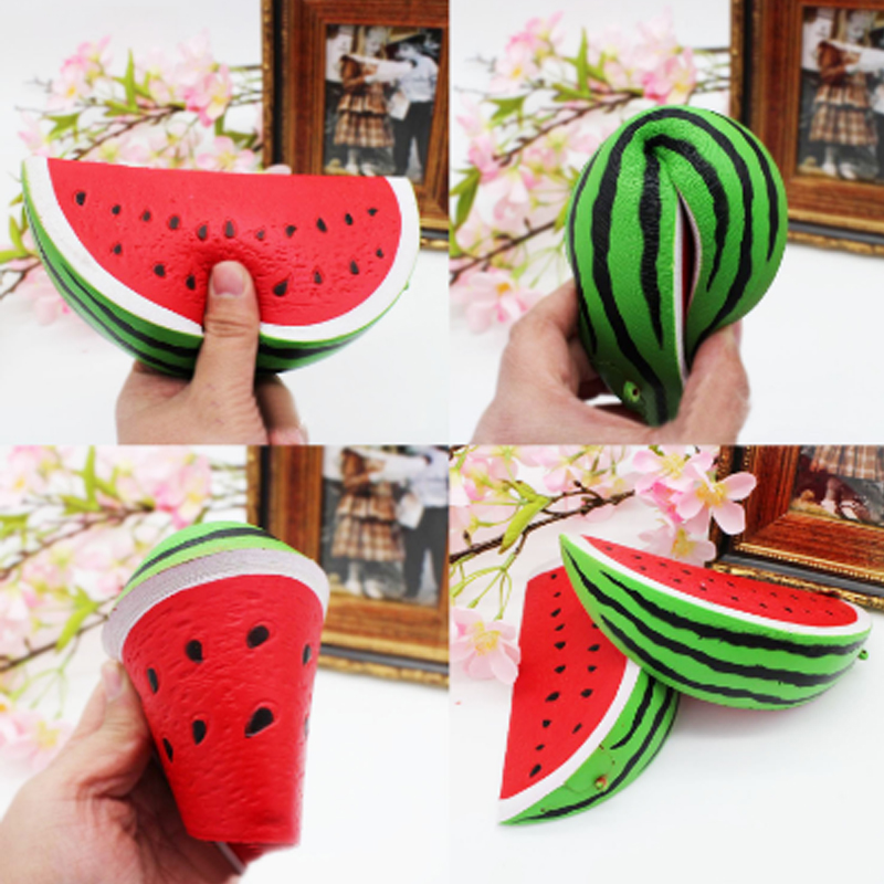 10cm Watermelon Fruit Slow Rising Simulation Stress Stretch Kids Toys Soft Squishy Fruit Toy Cell Phone Straps Birhtday Present