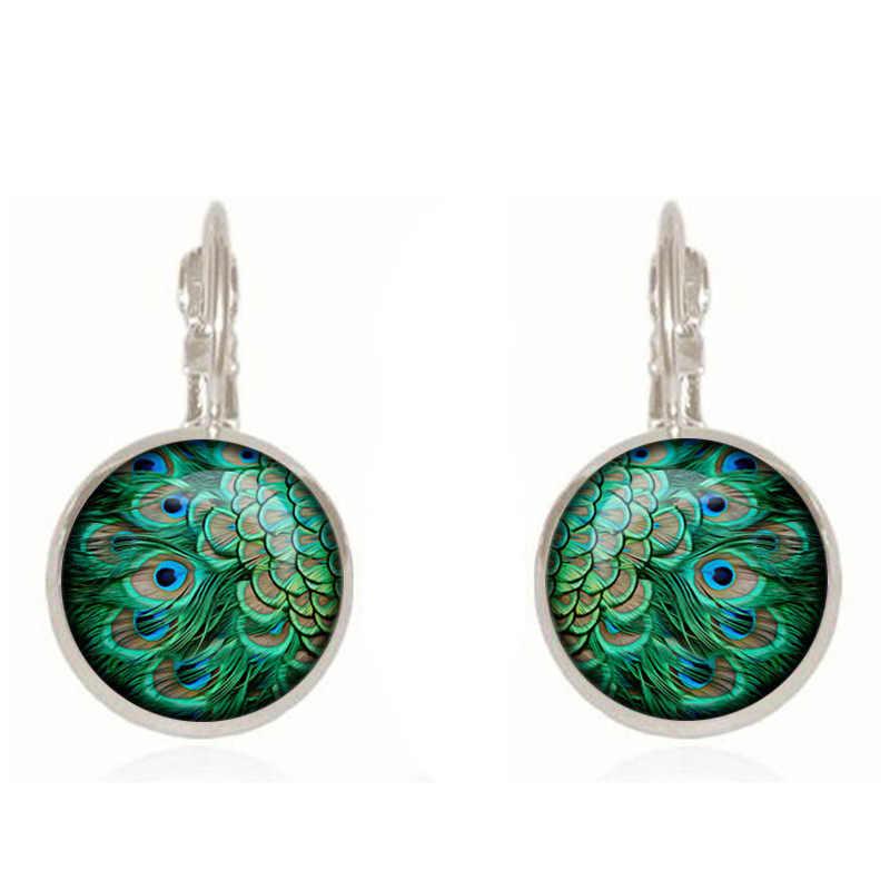 2018 New Bohemia Glass Cabochon Peacock Big Earring Women Fashion Ethnic Green Round Ear Pendant Dangle Earrings Brincos Jewelry