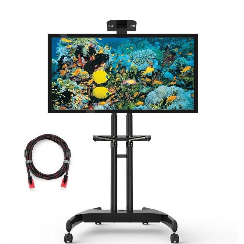 support de sol pour chariot tv mobile avec etagere reglable et support pour 32 a 60 pouces jusqu a 165lb pour ecrans a ecran plat et ensemble de