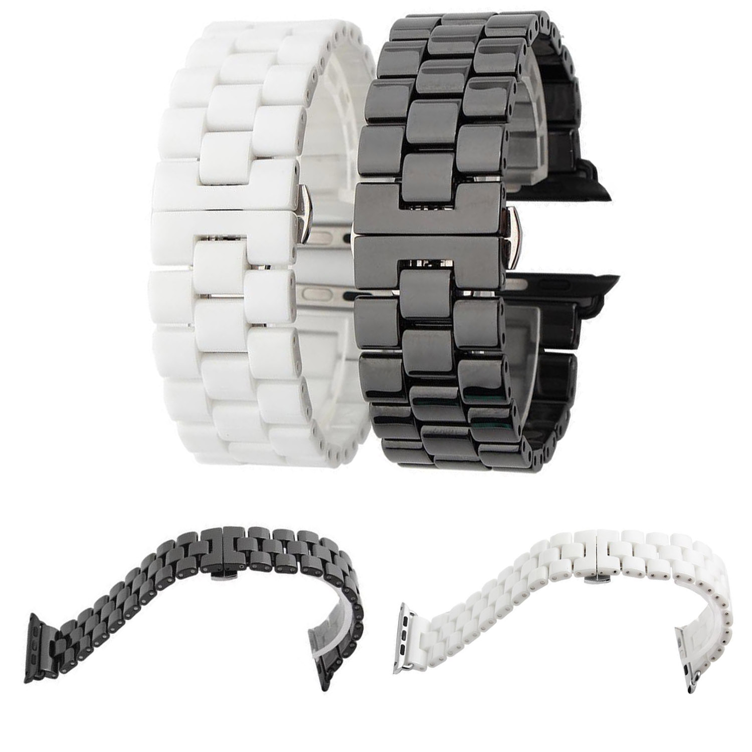 Black White Ceramic Links Bracelet for Apple Watch Series 3 2 1 42mm Band for iWatch Strap Butterfly Buckle Ceramics Watchbands white ceramics band design mens leisure watch