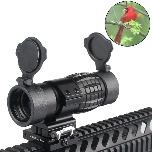 Tactical 30mm 3X Magnifier Scopes Optics Focus Adjusted Fits Red Dot Sight with Picatinny Weaver Rail Mount With Covers HT6-0067