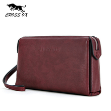 CROSS OX Men's Genuine Leather Clutch Bag 2017 New Spring Arrival Cow Leather Wallet For Men Wristlet  Coin Purse WL093M