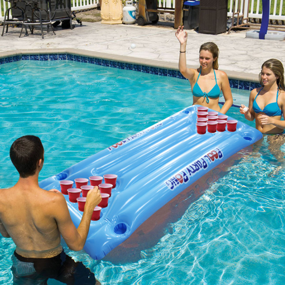Lounge Summer Water Sports Blue Air Mattress 24 Cup Holder Inflatable Pool Beer Pong Table Fun PVC Float Ice Bucket Cooler