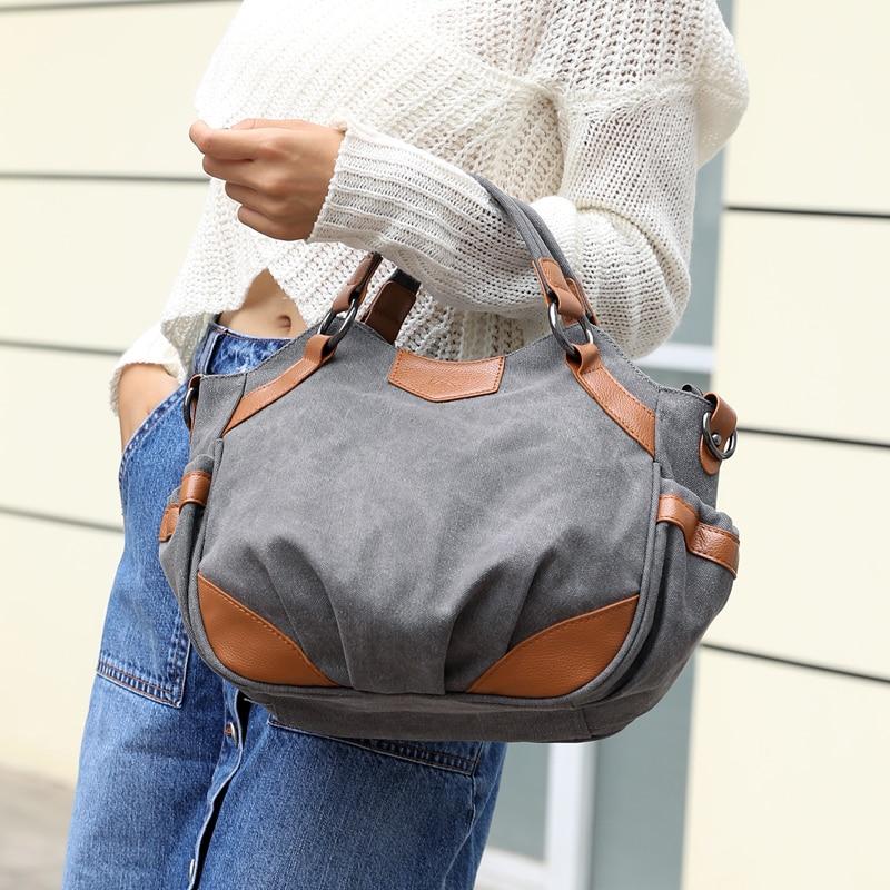 Women s Canvas Handbag Female Casual Tote Canvas Shoulder Bags ... 45178b76b9
