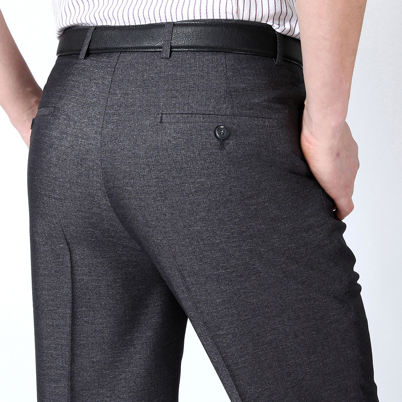 New Summer Men's Double Fold Pleated Suit Pants Thin Section Silk Trousers Business Dress Trousers Loose Smooth Pants Men