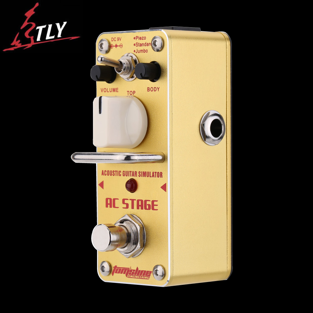 AROMA AAS-3 True Bypass Mini Single Electric Guitar Effect Pedal AC Stage Acoustic Guitar Simulator aroma atp 3 tube pusher valve combo simulator electric guitar effect pedal true bypass guitarra part