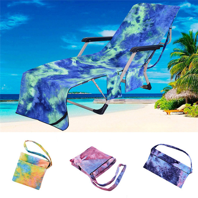 Beach Chair Cover Swing Ceiling Hook Portable Microfiber Pool Sun Lounge Towel Bag With 2 Pocket