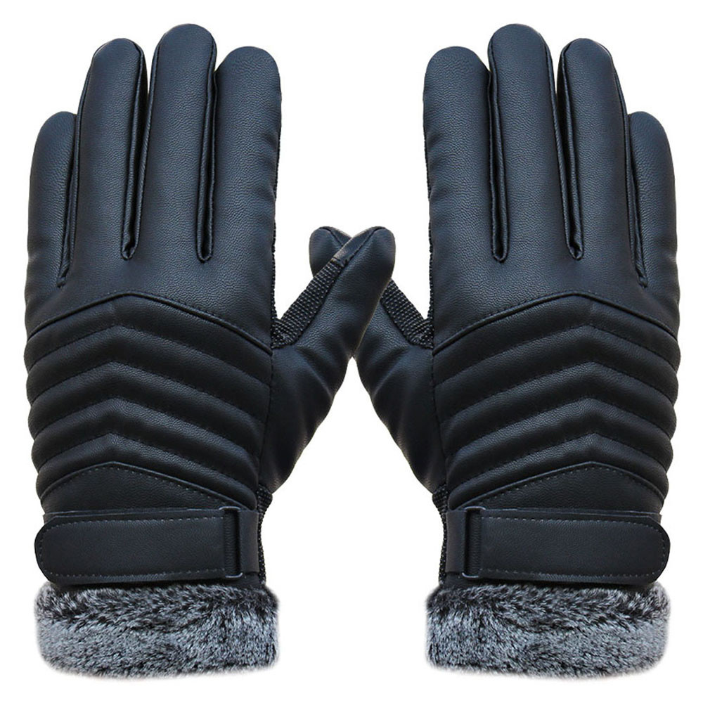 Fake leather driving gloves - Feitong New Arrival Winter Anti Slip Men Thermal Winter S Faux Leather Touch Screen Gloves Mittens