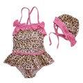 Meninas do bebê Verão Conjuntos de Natação Bikini Banho Crianças Arco 2 pcs Set Swimwear Flor Leopard + Cap Praia Crianças Swimwear conjunto