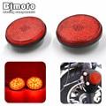 Par Universal Reflector Redondo Rojo Durable Longlife de Freno LED Lámpara de Luz Para La Motocicleta Cafe Racer ATV UTV Camiones