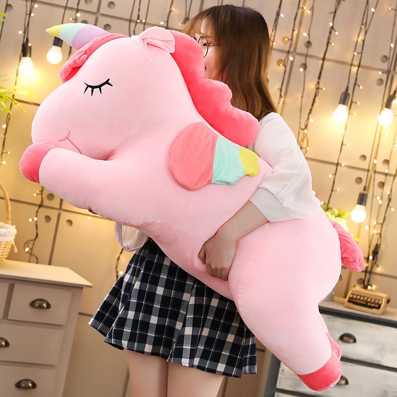 80 cm gros/géant/grand licorne peluche jouet/poupées doux blanc/rose licorne oreiller peluche Animal Kawaii cheval enfants cadeaux pour enfants