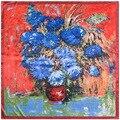 90cm * 90cm new scarf Van Gogh painting sunflower simulation silk scarf square