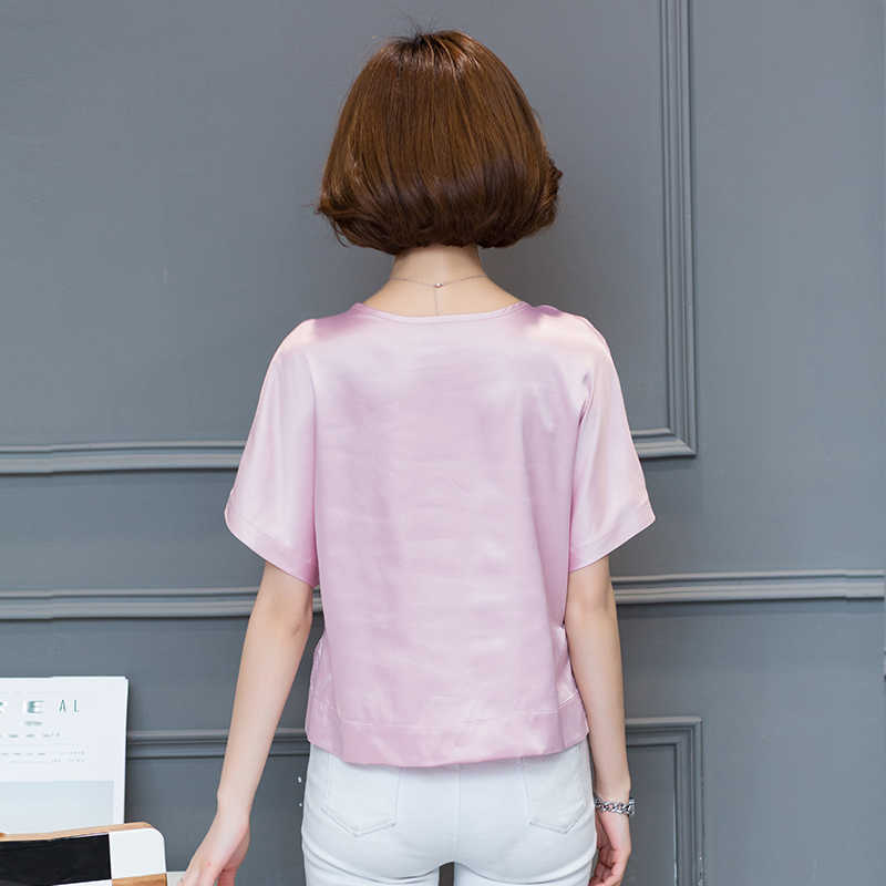 DFRCAEG szyfonowa bluzka 2018 moda lato kobiety bluzki krótki Feminino luźne Blusa Feminina O-Neck czerwony biała koszula kobiet topy