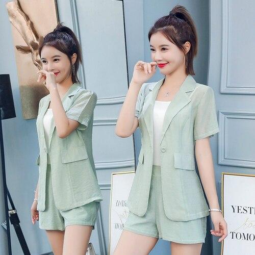 Inbox Short Sleeve Blazer 2019 Korean Pink Office Summer 2 Piece Sets Women Outfits