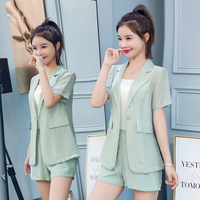 Short Sleeve Blazer Set 2019 Korean Pink Outfit Office Summer 2 Piece Sets Women Outfits Two Piece Set Clothing Single Button