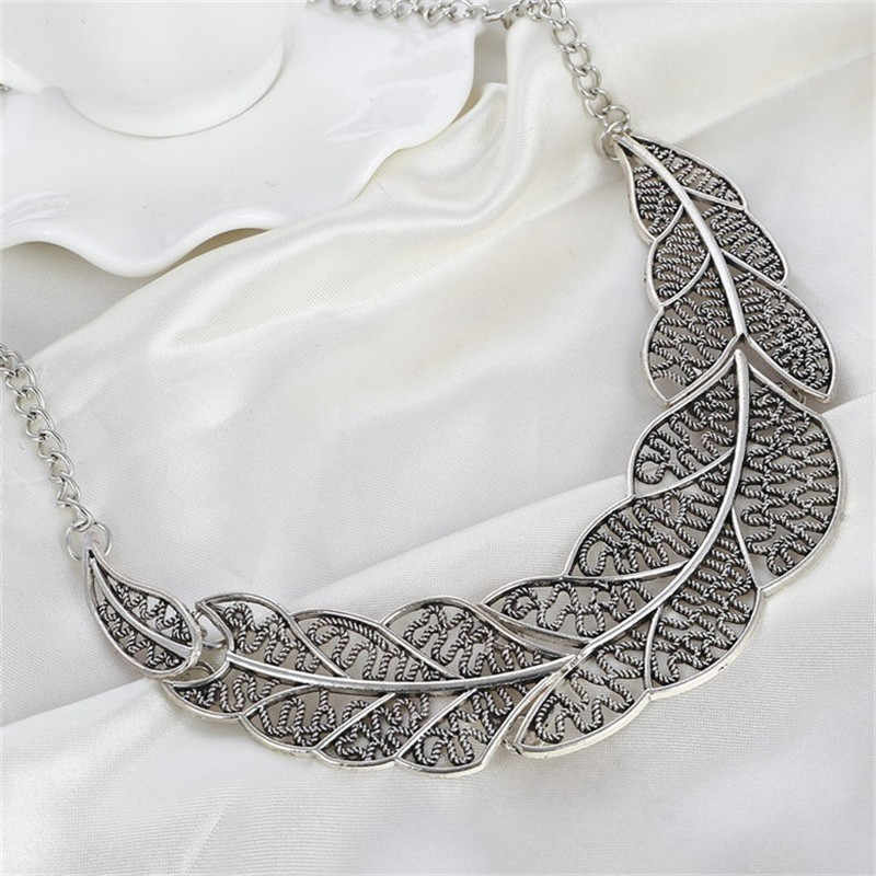 b4f4e65f6b Hesiod New Fashion Vintage Retro Gold Silver Leaf Pendant Statement  Necklace for Woman Dinosaur Collar Necklaces Wholesale
