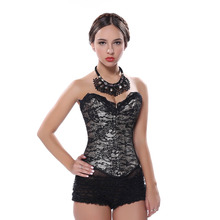 Satin Floral Gothic Lace up Boned Overbust Corset