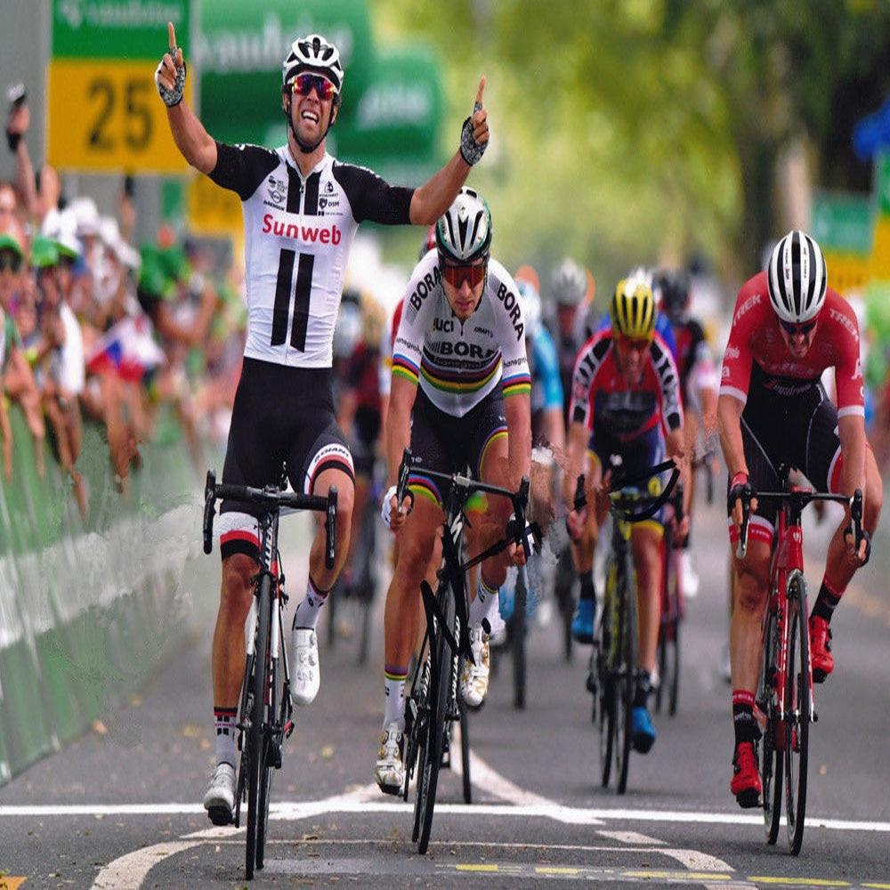 NEW SUNWEB cycling jersey set men short sleeve team bike wear jersey set  bib shorts Gel 1b55af1fe