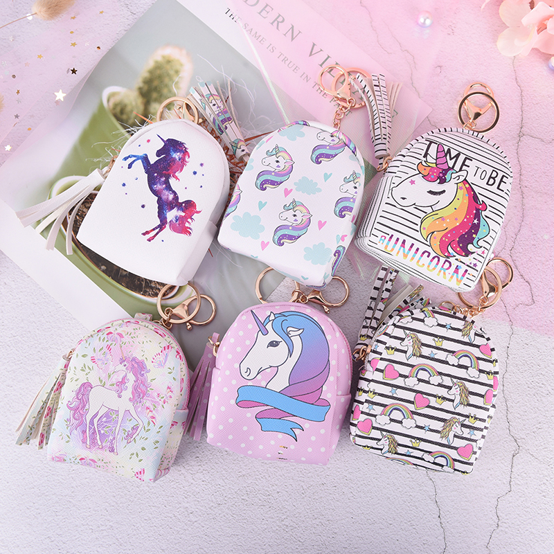 6Styles Cartoon Unicorn Coin Purses Small Cute Kawaii Card Holder Key Money Bags For Girls Ladies Purse Kids Bulk Women Wallets