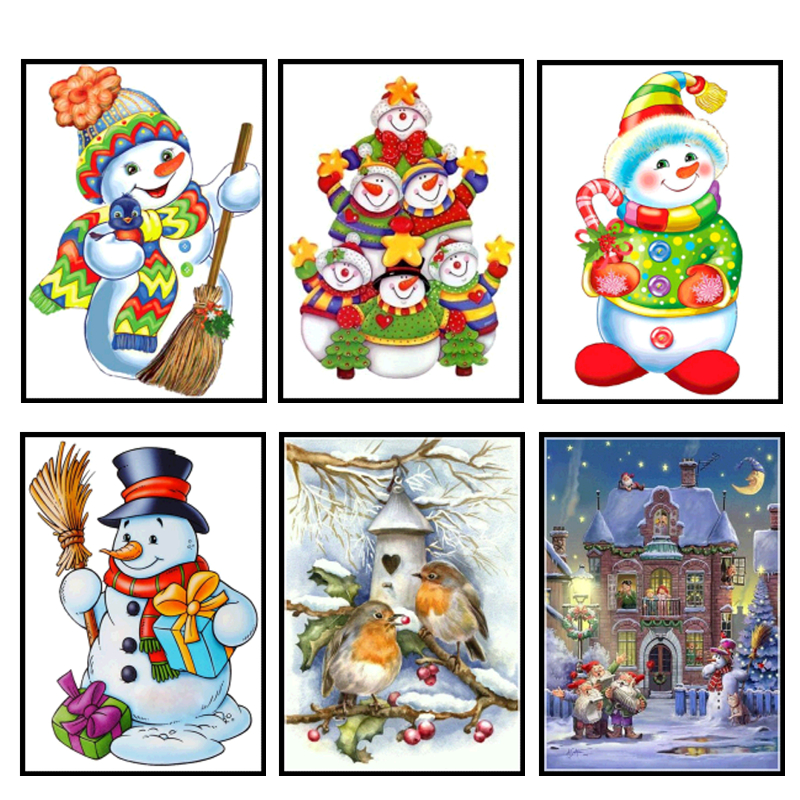 5D DIY Diamond Embroidery Snowman Painting Full Round Resin Mosaic Cross Stitch Christmas Gift