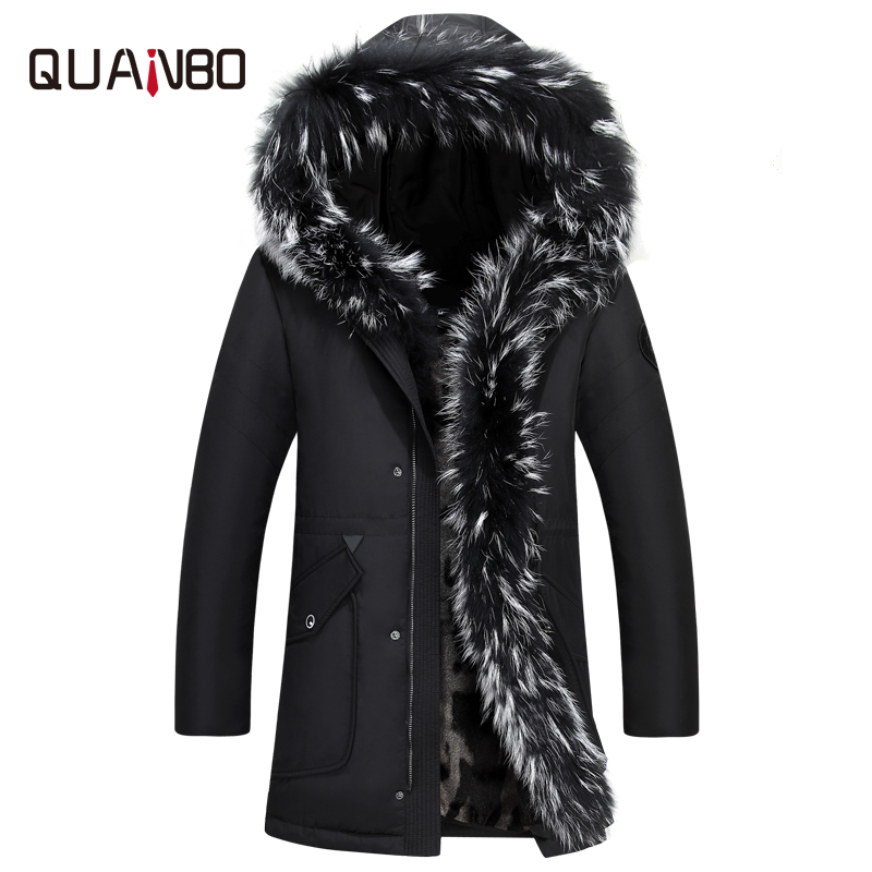 QUANBO 2018 Winter Thick Warm   Down   Jacket Casual X-Long White Duck   Down     Coats   With Hooded Natural Raccoon -35 Degree Outwear