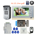 "Free Shipping BRAND 7"" Color Screen Video Intercom Door Phone Record Kit + RFID Reader Access Doorbell Camera + 8G SD + E-lock"