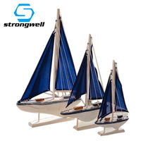 Strongwell 1PC Classical Blue Sailboat Wooden Crafts Ornament Creative Accessories Figurines Home Decor Birthday Gift Kids Toy