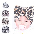 Leopard Girls Newborn Hospital Hat with Matching Floppy Bow Knot Soft Cotton Baby Hat Jersey Knit Beanies Cap Baby Gift SW130