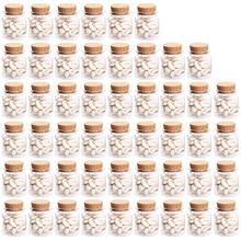 50pcs Kit 47*50MM 50ML Glass Bottles Jar Wishing Bottle Empty Sample Storage with Cork Stoppers Hot Sale  - Transparent