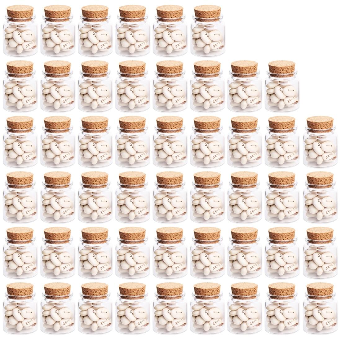 Livraison directe 47*50 MM 50 ML bouteilles en verre pot souhaitant bouteille vide échantillon de stockage avec bouchons en liège offre spéciale-Transparent