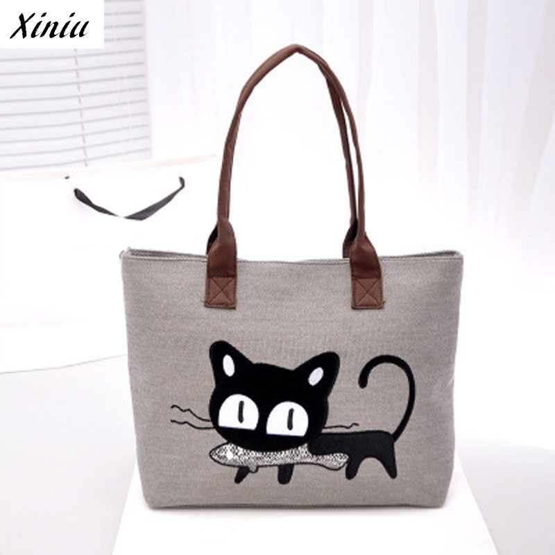 Xiniu Bags Handbags Women Cute Cat Eat Fish Printing Women Casual Tote Bag Shoulder Bags Bolsos Mujer #0