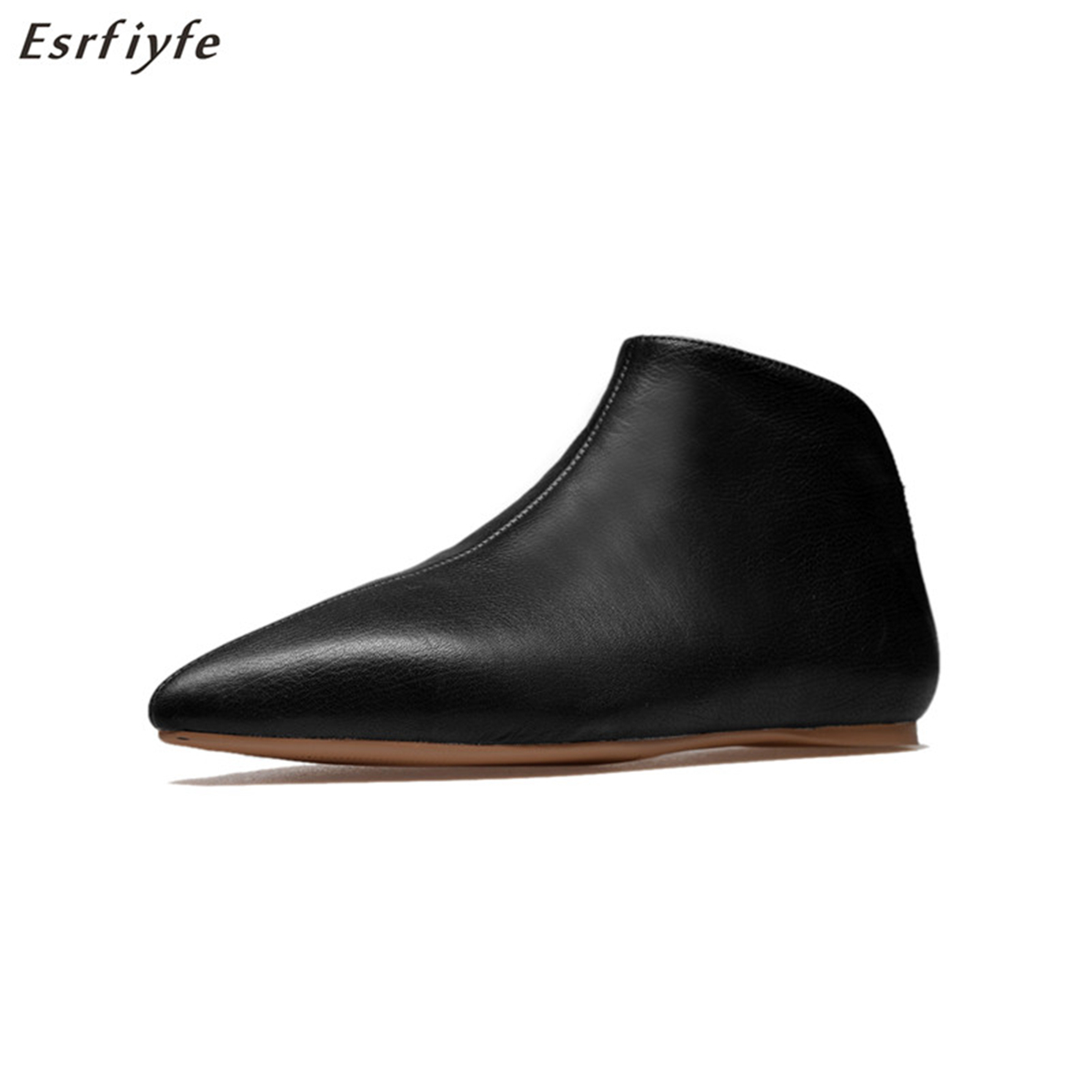 ESRFIYFE New Arrival Spring Autumn Genuine Leather High Heels Flat with Slip-on Fashion Shoes for Woman Ankle Boots LadiesESRFIYFE New Arrival Spring Autumn Genuine Leather High Heels Flat with Slip-on Fashion Shoes for Woman Ankle Boots Ladies