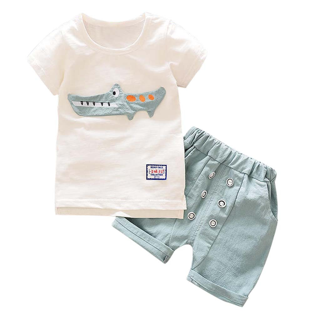 2018 Toddler Kid Baby Boy Outfits Clothes Cartoon Print T-shirt Tops+Shorts Pants Set Clothing children For 24Months-7Years P4