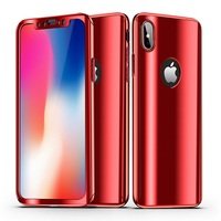 Luxury Full Body Plated Mirror Case For iPhone 7 8 6 6S Plus 5S SE With Front Glass Film 360 Full Cover Case For Apple iPhone X
