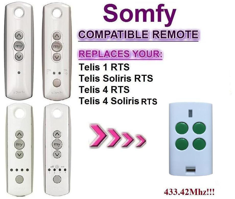 FOR Somfy Telis 4 RTS, Somfy Telis 4 Soliris RTS compatible garage door remote control top quality kicx rts 4 60