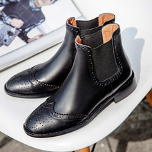 Women's Spring Autumn Slip-on Flats Ankle Boots Brand Designer Carving British Style Genuine Leather Short Booties Shoes Women
