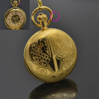 Men Mechanical Pocket Watch Roman Classic Fob Watches Sepia Flower Retro Vintage Gold Ipg Plating Copper Brass Case Snake Chain