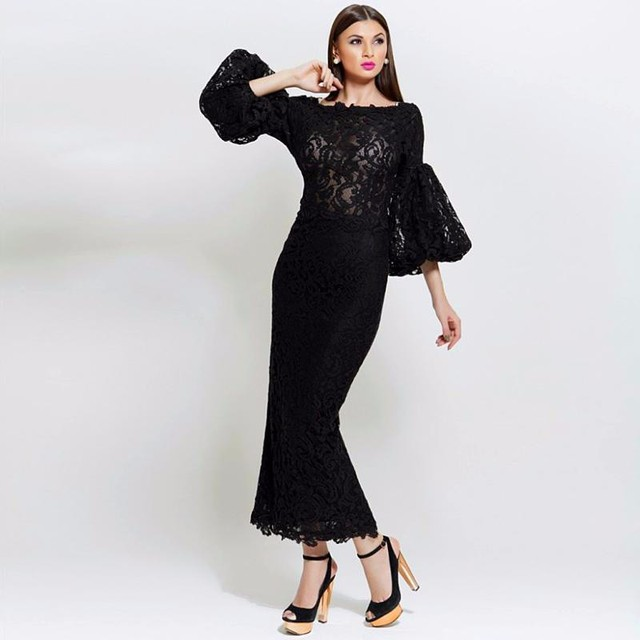 Fashionable Black Lace Mermaid Evening Dresses Ankle-Length 3 4 Bubble  Sleeve Maxi Women Formal Dress Robe de Soiree Longo 5d82aea1243a